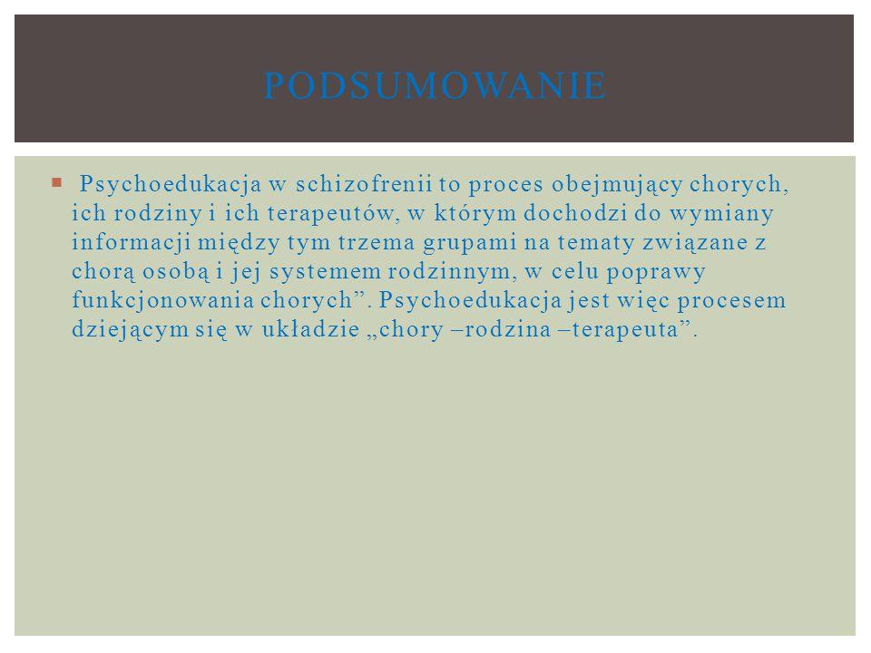  Psychoedukacja w schizofrenii to proces obejmujący chorych, ich rodziny i ich terapeutów, w którym dochodzi do wymiany informacji między tym trzema grupami na tematy związane z chorą osobą i jej systemem rodzinnym, w celu poprawy funkcjonowania chorych .