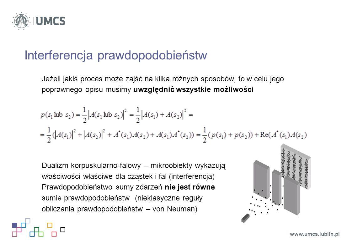 Interferencja prawdopodobieństw Jeżeli jakiś proces może zajść na kilka różnych sposobów, to w celu jego poprawnego opisu musimy uwzględnić wszystkie możliwości Dualizm korpuskularno-falowy – mikroobiekty wykazują właściwości właściwe dla cząstek i fal (interferencja) Prawdopodobieństwo sumy zdarzeń nie jest równe sumie prawdopodobieństw (nieklasyczne reguły obliczania prawdopodobieństw – von Neuman) www.umcs.lublin.pl
