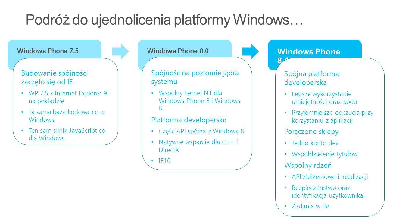 8 Windows Phone 7.5Windows Phone 8.0 Budowanie spójności zaczęło się od IE WP 7.5 z Internet Explorer 9 na pokładzie Ta sama baza kodowa co w Windows Ten sam silnik JavaScript co dla Windows Spójność na poziomie jądra systemu Wspólny kernel NT dla Windows Phone 8 i Windows 8 Platforma developerska Część API spójna z Windows 8 Natywne wsparcie dla C++ i DirectX IE10 Spójna platforma developerska Lepsze wykorzystanie umiejętności oraz kodu Przyjemniejsze odczucia przy korzystaniu z aplikacji Połączone sklepy Jedno konto dev Współdzielenie tytułów Wspólny rdzeń API zbliżeniowe i lokalizacji Bezpieczeństwo oraz identyfikacja użytkownika Zadania w tle