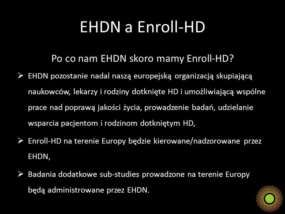EHDN a Enroll-HD Po co nam EHDN skoro mamy Enroll-HD?  EHDN pozostanie nadal naszą europejską organizacją skupiającą naukowców, lekarzy i rodziny dot