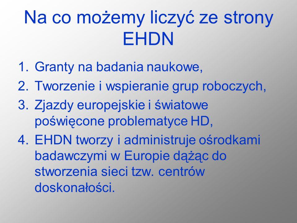 Na co możemy liczyć ze strony EHDN 1.Granty na badania naukowe, 2.Tworzenie i wspieranie grup roboczych, 3.Zjazdy europejskie i światowe poświęcone pr