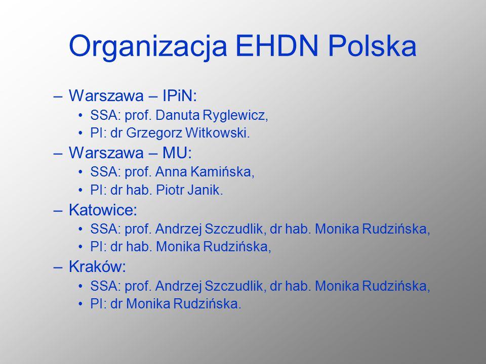 Organizacja EHDN Polska –Warszawa – IPiN: SSA: prof. Danuta Ryglewicz, PI: dr Grzegorz Witkowski. –Warszawa – MU: SSA: prof. Anna Kamińska, PI: dr hab