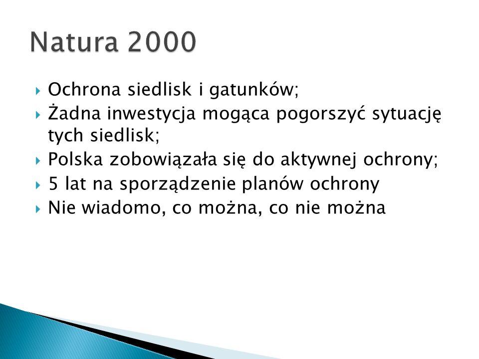  Ochrona siedlisk i gatunków;  Żadna inwestycja mogąca pogorszyć sytuację tych siedlisk;  Polska zobowiązała się do aktywnej ochrony;  5 lat na sporządzenie planów ochrony  Nie wiadomo, co można, co nie można