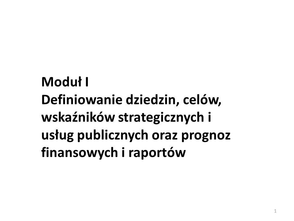 1 Moduł I Definiowanie dziedzin, celów, wskaźników strategicznych i usług publicznych oraz prognoz finansowych i raportów