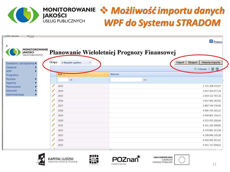  Możliwość importu danych WPF do Systemu STRADOM 11