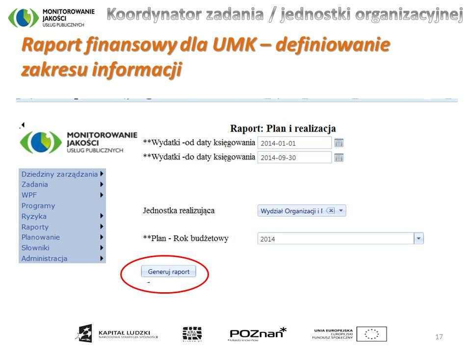 Raport finansowy dla UMK – definiowanie zakresu informacji 17
