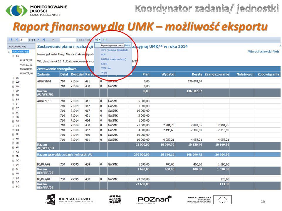 Raport finansowy dla UMK – możliwość eksportu 18