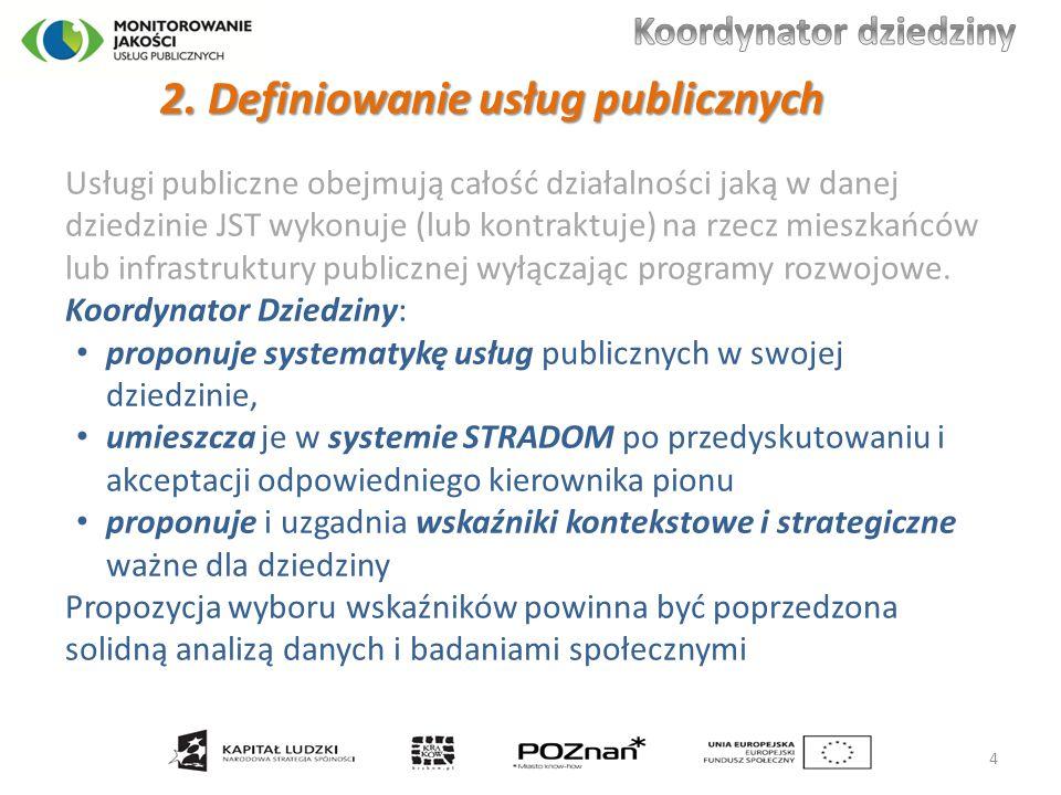 Usługi publiczne obejmują całość działalności jaką w danej dziedzinie JST wykonuje (lub kontraktuje) na rzecz mieszkańców lub infrastruktury publiczne