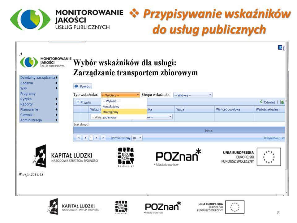  Przypisywanie wskaźników do usług publicznych 8