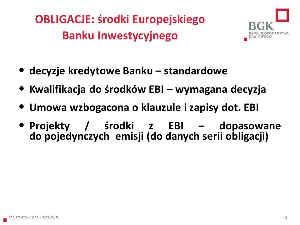 204/204/204 218/32/56 118/126/132 183/32/51 227/30/54 OBLIGACJE: środki Europejskiego Banku Inwestycyjnego 8 decyzje kredytowe Banku – standardowe Kwalifikacja do środków EBI – wymagana decyzja Umowa wzbogacona o klauzule i zapisy dot.