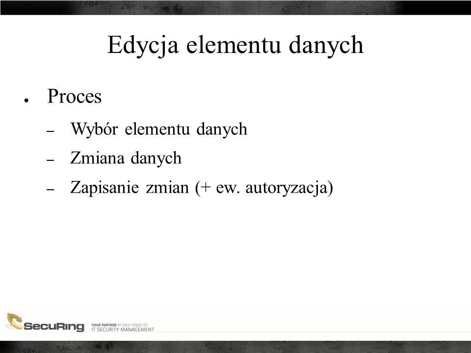 Edycja elementu danych ● Proces – Wybór elementu danych – Zmiana danych – Zapisanie zmian (+ ew.