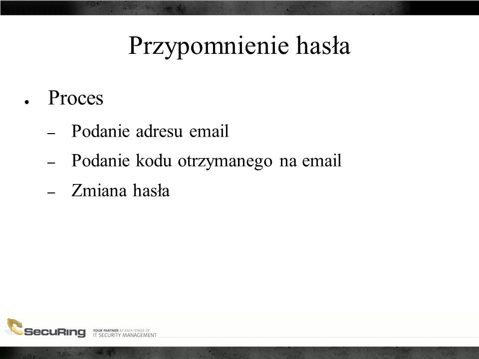 Przypomnienie hasła ● Proces – Podanie adresu email – Podanie kodu otrzymanego na email – Zmiana hasła