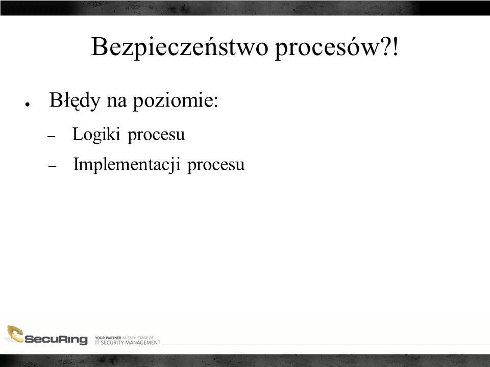 Bezpieczeństwo procesów ! ● Błędy na poziomie: – Logiki procesu – Implementacji procesu