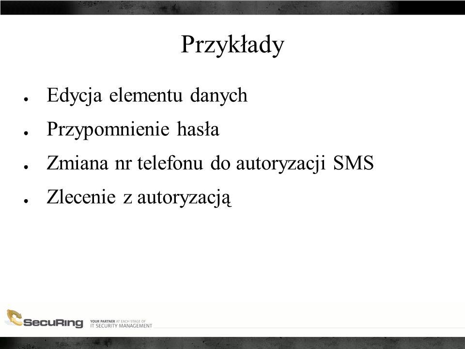 Przykłady ● Edycja elementu danych ● Przypomnienie hasła ● Zmiana nr telefonu do autoryzacji SMS ● Zlecenie z autoryzacją