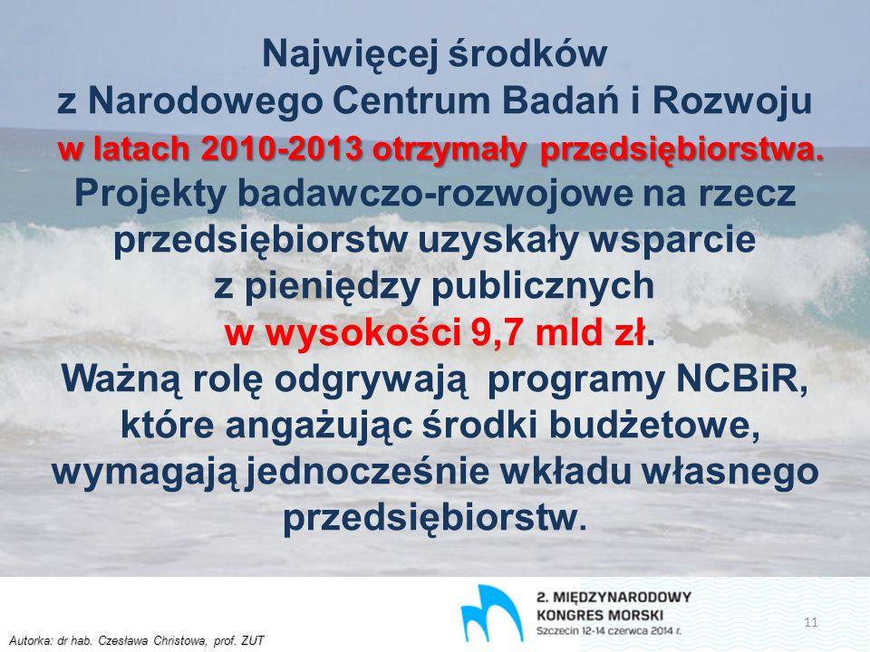 Autorka: dr hab. Czesława Christowa, prof. ZUT w latach 2010-2013 otrzymały przedsiębiorstwa. Najwięcej środków z Narodowego Centrum Badań i Rozwoju w