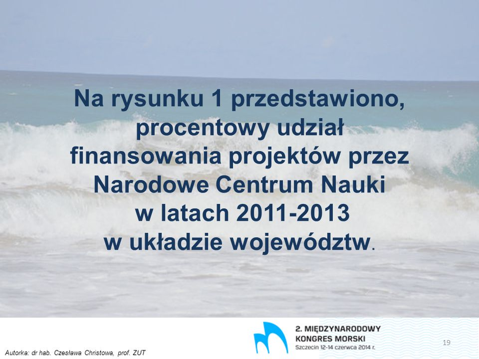 Autorka: dr hab. Czesława Christowa, prof. ZUT Na rysunku 1 przedstawiono, procentowy udział finansowania projektów przez Narodowe Centrum Nauki w lat