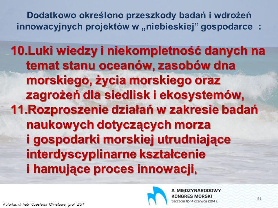 """Autorka: dr hab. Czesława Christowa, prof. ZUT Dodatkowo określono przeszkody badań i wdrożeń innowacyjnych projektów w """"niebieskiej"""" gospodarce : 10."""