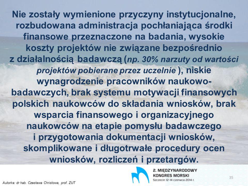 Autorka: dr hab. Czesława Christowa, prof. ZUT Nie zostały wymienione przyczyny instytucjonalne, rozbudowana administracja pochłaniająca środki finans