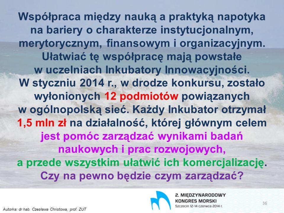 Autorka: dr hab. Czesława Christowa, prof. ZUT Współpraca między nauką a praktyką napotyka na bariery o charakterze instytucjonalnym, merytorycznym, f