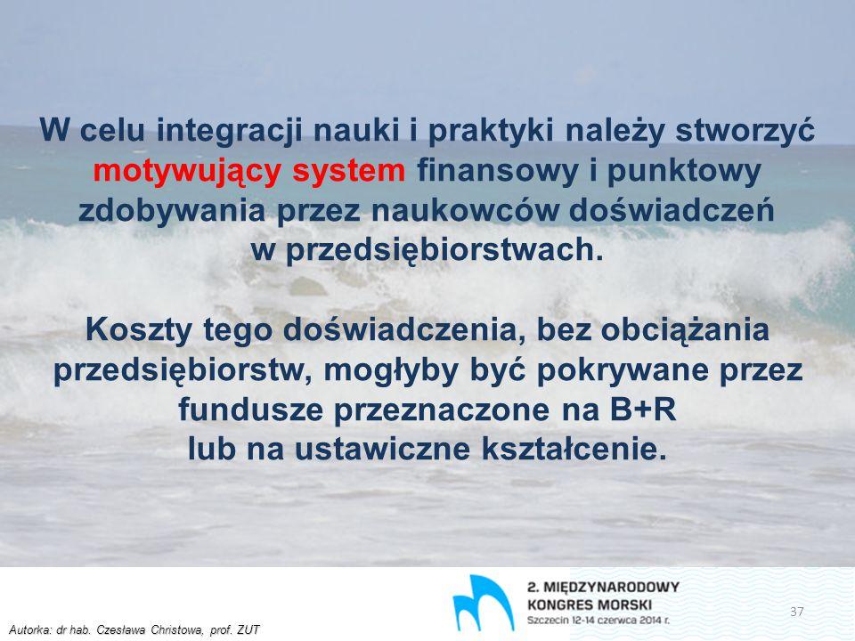 Autorka: dr hab. Czesława Christowa, prof. ZUT W celu integracji nauki i praktyki należy stworzyć motywujący system finansowy i punktowy zdobywania pr