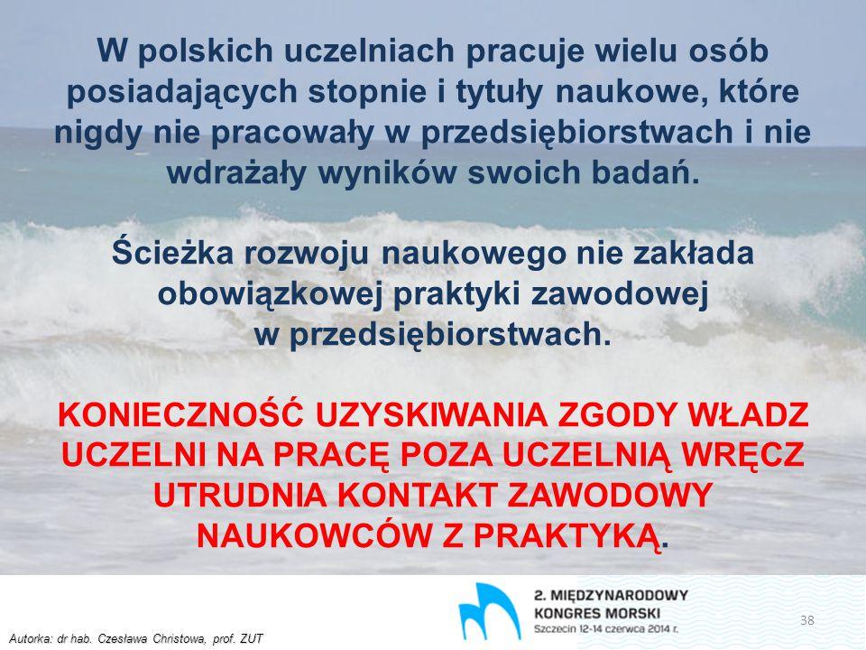 Autorka: dr hab. Czesława Christowa, prof. ZUT W polskich uczelniach pracuje wielu osób posiadających stopnie i tytuły naukowe, które nigdy nie pracow