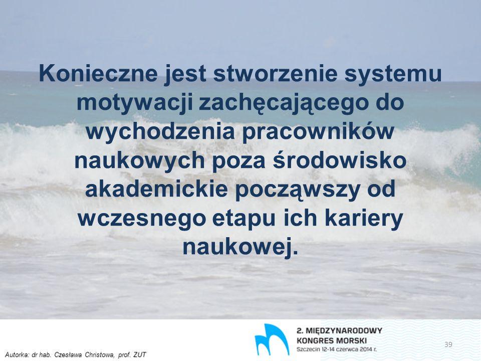 Autorka: dr hab. Czesława Christowa, prof. ZUT Konieczne jest stworzenie systemu motywacji zachęcającego do wychodzenia pracowników naukowych poza śro