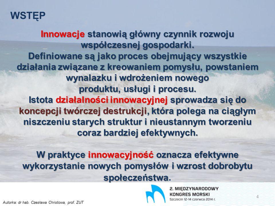 Autorka: dr hab. Czesława Christowa, prof. ZUT WSTĘP Innowacje stanowią główny czynnik rozwoju współczesnej gospodarki. Definiowane są jako proces obe