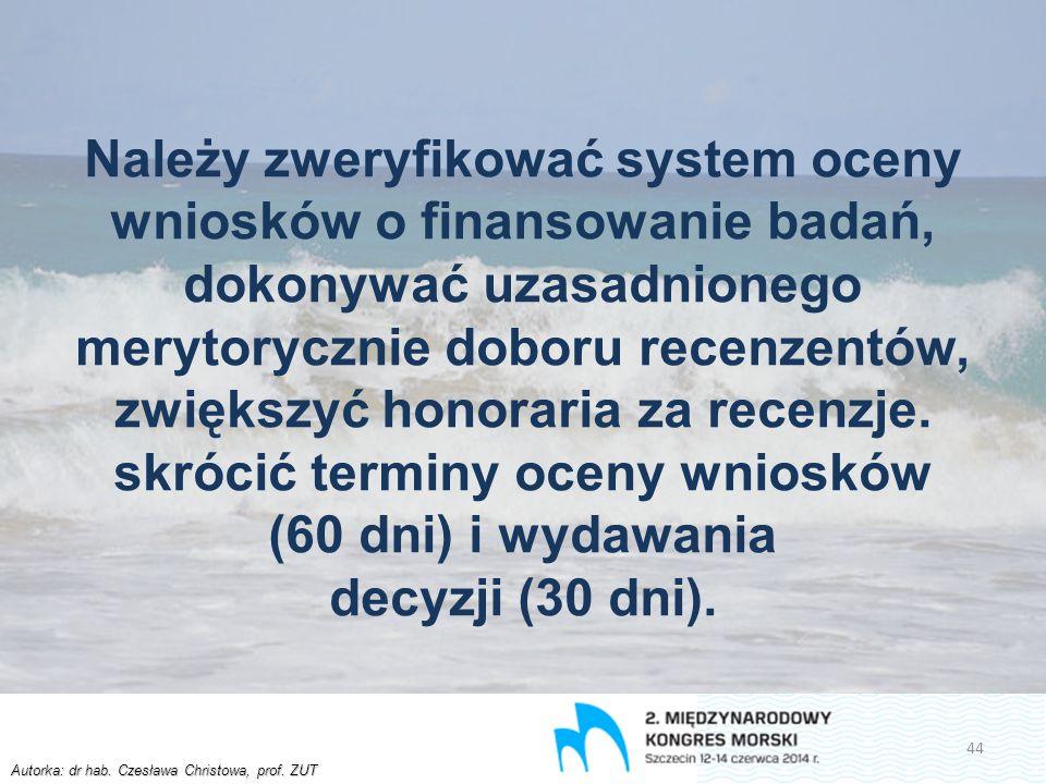 Autorka: dr hab. Czesława Christowa, prof. ZUT Należy zweryfikować system oceny wniosków o finansowanie badań, dokonywać uzasadnionego merytorycznie d