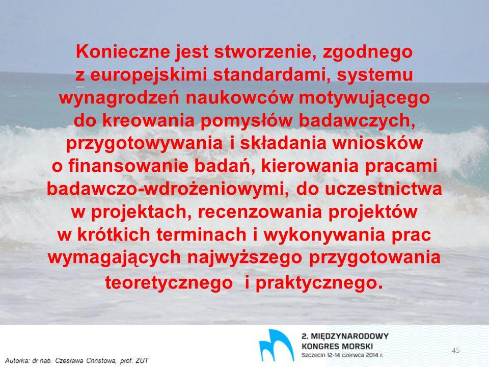 Autorka: dr hab. Czesława Christowa, prof. ZUT Konieczne jest stworzenie, zgodnego z europejskimi standardami, systemu wynagrodzeń naukowców motywując