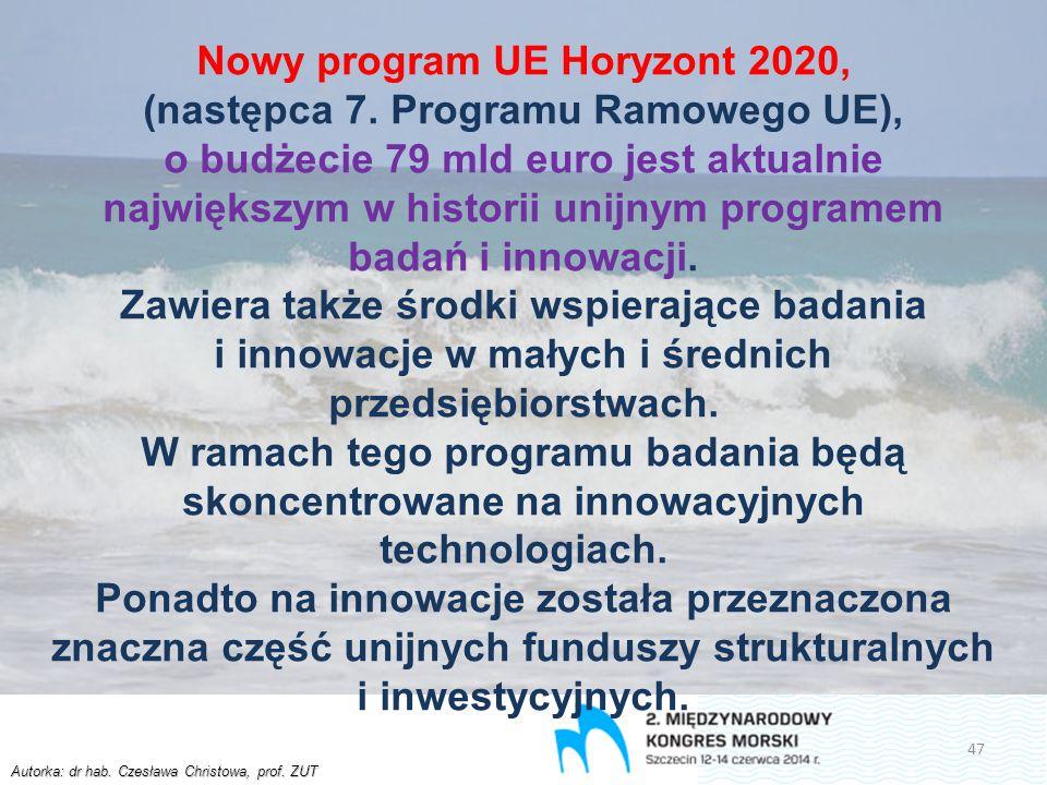 Autorka: dr hab. Czesława Christowa, prof. ZUT Nowy program UE Horyzont 2020, (następca 7. Programu Ramowego UE), o budżecie 79 mld euro jest aktualni