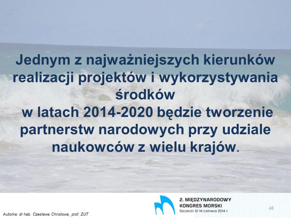 Autorka: dr hab. Czesława Christowa, prof. ZUT Jednym z najważniejszych kierunków realizacji projektów i wykorzystywania środków w latach 2014-2020 bę