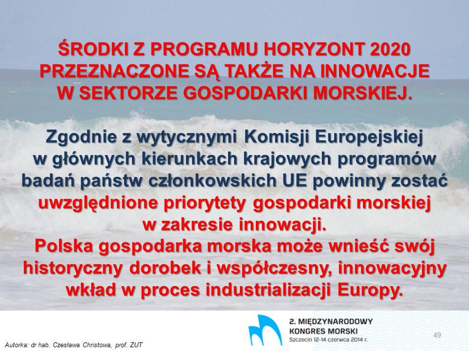 Autorka: dr hab. Czesława Christowa, prof. ZUT ŚRODKI Z PROGRAMU HORYZONT 2020 PRZEZNACZONE SĄ TAKŻE NA INNOWACJE W SEKTORZE GOSPODARKI MORSKIEJ. Zgod