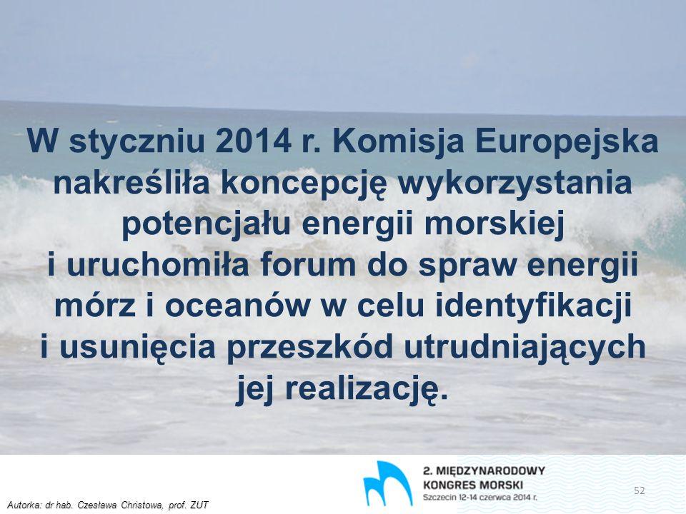 Autorka: dr hab. Czesława Christowa, prof. ZUT W styczniu 2014 r. Komisja Europejska nakreśliła koncepcję wykorzystania potencjału energii morskiej i