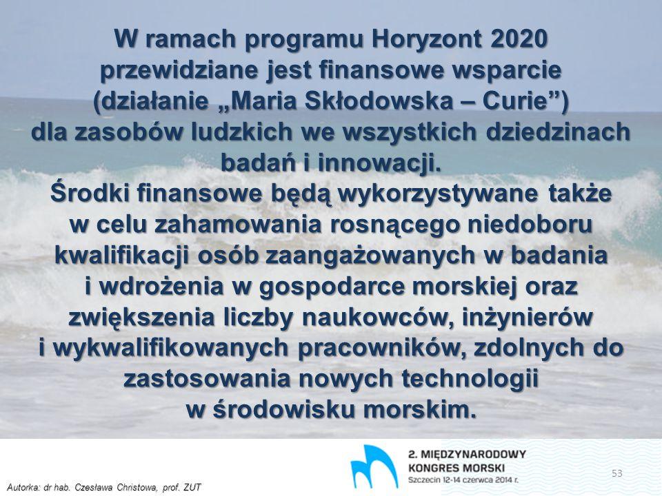 """Autorka: dr hab. Czesława Christowa, prof. ZUT W ramach programu Horyzont 2020 przewidziane jest finansowe wsparcie (działanie """"Maria Skłodowska – Cur"""