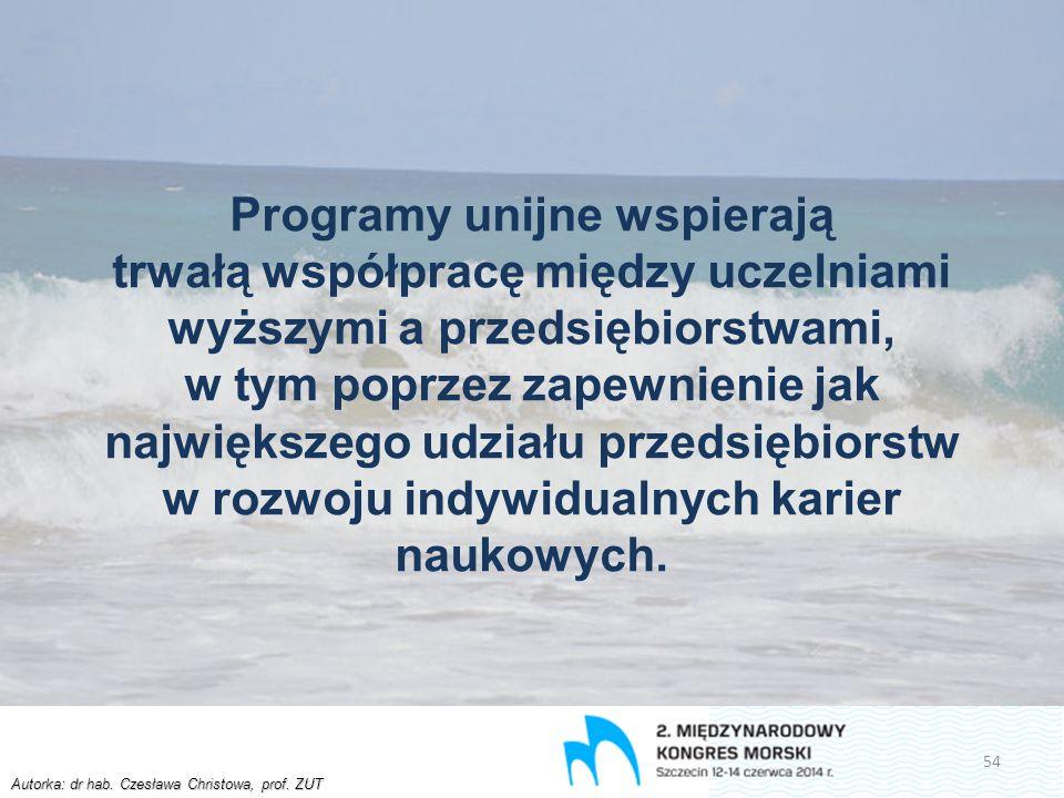 Autorka: dr hab. Czesława Christowa, prof. ZUT Programy unijne wspierają trwałą współpracę między uczelniami wyższymi a przedsiębiorstwami, w tym popr