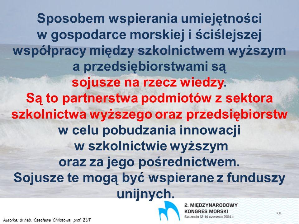 Autorka: dr hab. Czesława Christowa, prof. ZUT Sposobem wspierania umiejętności w gospodarce morskiej i ściślejszej współpracy między szkolnictwem wyż