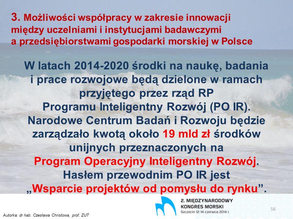 Autorka: dr hab. Czesława Christowa, prof. ZUT 3. Możliwości współpracy w zakresie innowacji między uczelniami i instytucjami badawczymi a przedsiębio