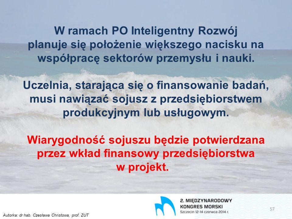 Autorka: dr hab. Czesława Christowa, prof. ZUT W ramach PO Inteligentny Rozwój planuje się położenie większego nacisku na współpracę sektorów przemysł