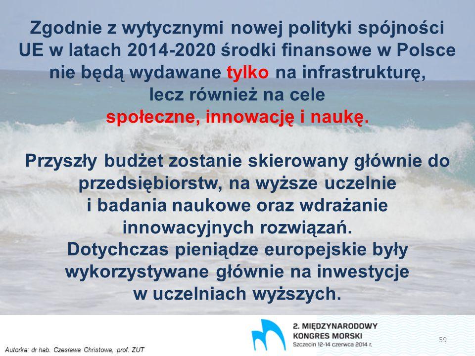 Autorka: dr hab. Czesława Christowa, prof. ZUT Zgodnie z wytycznymi nowej polityki spójności UE w latach 2014-2020 środki finansowe w Polsce nie będą