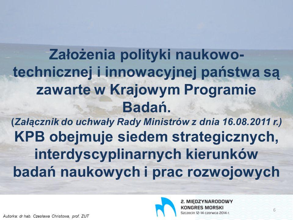 Autorka: dr hab. Czesława Christowa, prof. ZUT Założenia polityki naukowo- technicznej i innowacyjnej państwa są zawarte w Krajowym Programie Badań. (