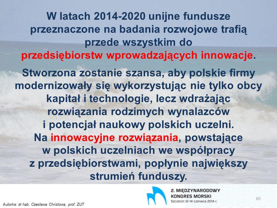 Autorka: dr hab. Czesława Christowa, prof. ZUT W latach 2014-2020 unijne fundusze przeznaczone na badania rozwojowe trafią przede wszystkim do przedsi