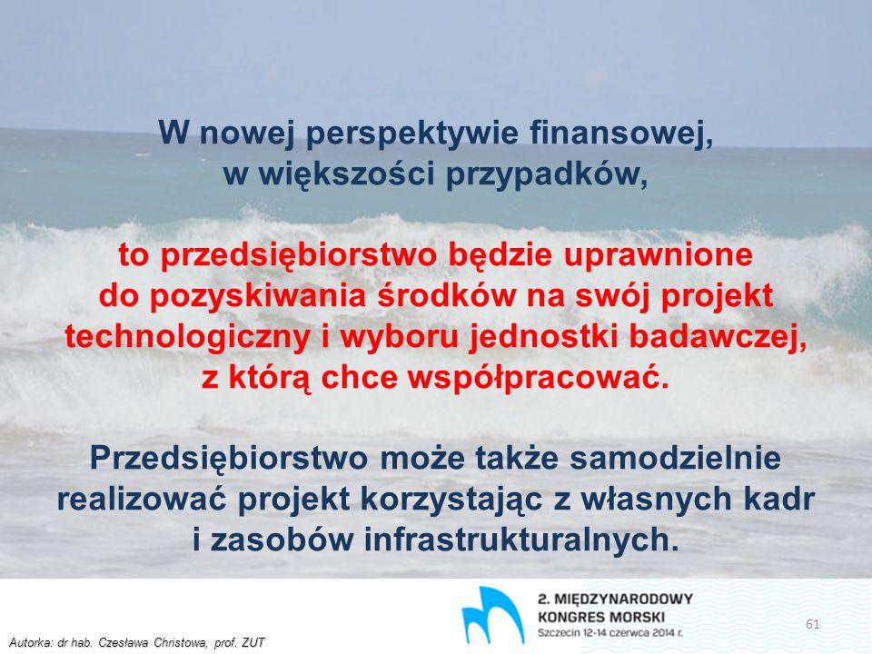 Autorka: dr hab. Czesława Christowa, prof. ZUT W nowej perspektywie finansowej, w większości przypadków, to przedsiębiorstwo będzie uprawnione do pozy