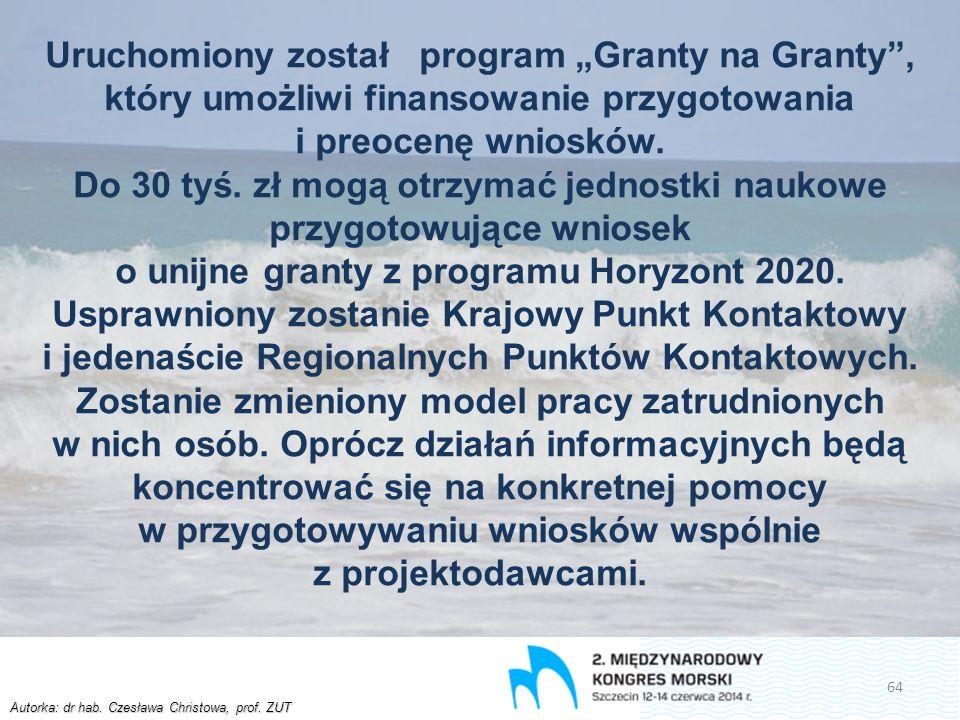 """Autorka: dr hab. Czesława Christowa, prof. ZUT Uruchomiony został program """"Granty na Granty"""", który umożliwi finansowanie przygotowania i preocenę wni"""