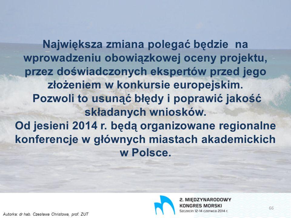 Autorka: dr hab. Czesława Christowa, prof. ZUT Największa zmiana polegać będzie na wprowadzeniu obowiązkowej oceny projektu, przez doświadczonych eksp