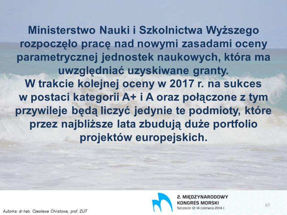 Autorka: dr hab. Czesława Christowa, prof. ZUT Ministerstwo Nauki i Szkolnictwa Wyższego rozpoczęło pracę nad nowymi zasadami oceny parametrycznej jed