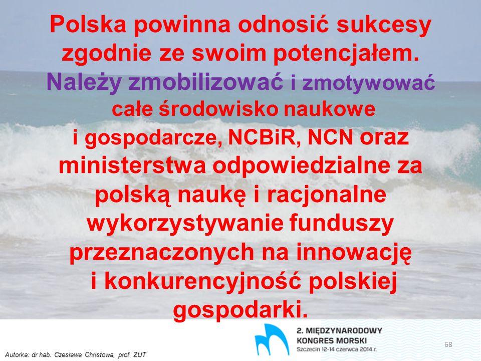 Autorka: dr hab. Czesława Christowa, prof. ZUT Polska powinna odnosić sukcesy zgodnie ze swoim potencjałem. Należy zmobilizować i zmotywować całe środ