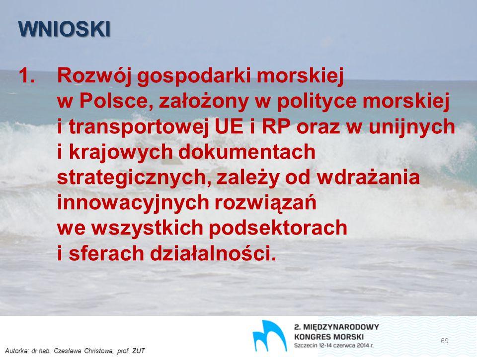 Autorka: dr hab. Czesława Christowa, prof. ZUT WNIOSKI 1.Rozwój gospodarki morskiej w Polsce, założony w polityce morskiej i transportowej UE i RP ora
