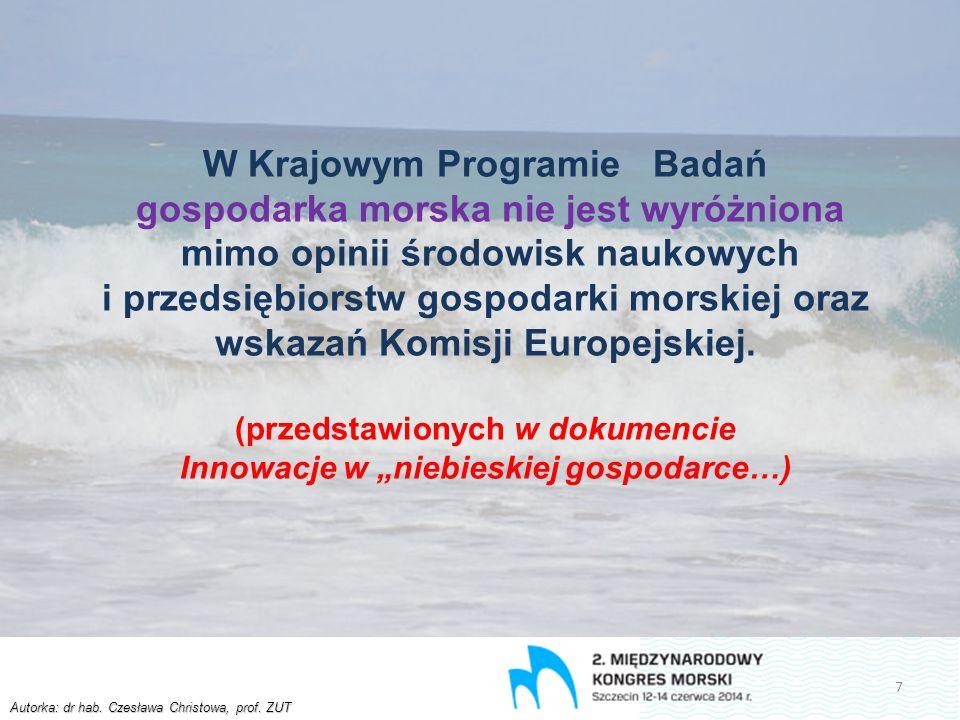 Autorka: dr hab. Czesława Christowa, prof. ZUT W Krajowym Programie Badań gospodarka morska nie jest wyróżniona mimo opinii środowisk naukowych i prze
