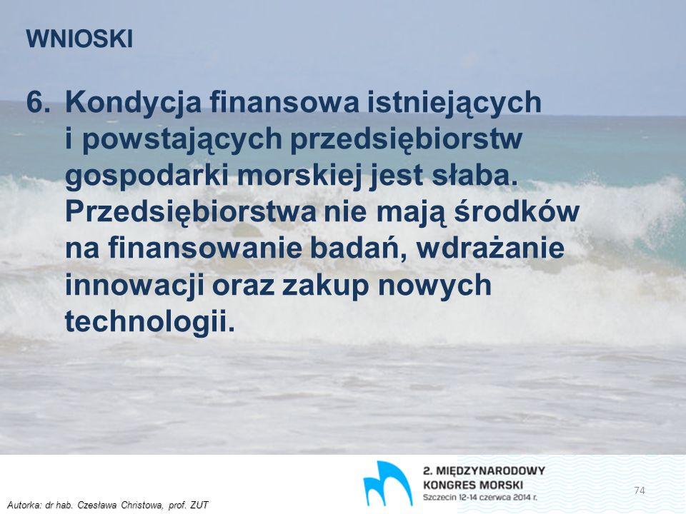 Autorka: dr hab. Czesława Christowa, prof. ZUT WNIOSKI 6.Kondycja finansowa istniejących i powstających przedsiębiorstw gospodarki morskiej jest słaba