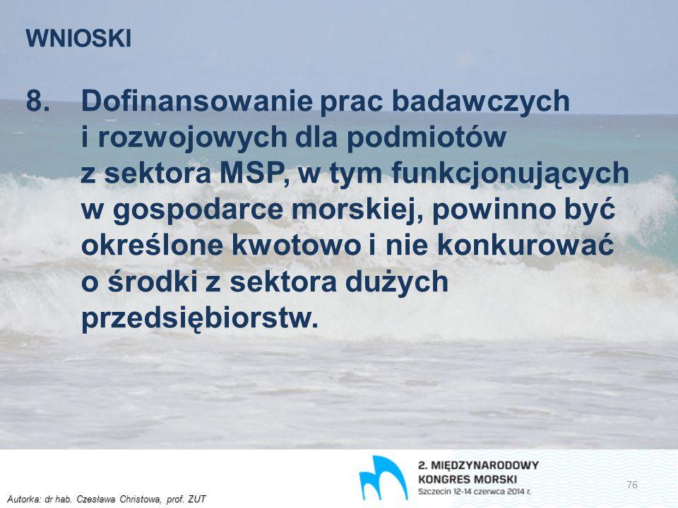 Autorka: dr hab. Czesława Christowa, prof. ZUT WNIOSKI 8.Dofinansowanie prac badawczych i rozwojowych dla podmiotów z sektora MSP, w tym funkcjonujący